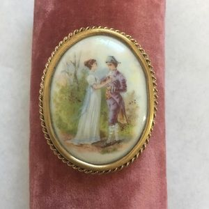 Courting Couple Cameo style brooch